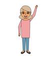 Happy old woman grandma standing cartoon