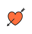 heart with arrow valentine day flat color icon vector image vector image