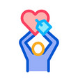 human hold heart icon outline vector image vector image