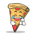 joy face pizza character cartoon vector image