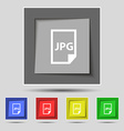 Jpg file icon sign on original five colored vector image vector image