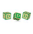 letter D wooden alphabet blocks vector image vector image