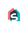 letter s house home overlapping color logo icon vector image