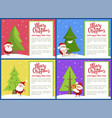 merry christmas and santa set vector image vector image