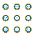 morale icons set flat style vector image vector image