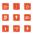 news bulletin icons set grunge style vector image vector image