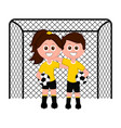 pair of goalkeepers on a net vector image