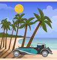 retro car cabriolet on tropical beach with palm vector image vector image