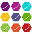 scimitar sword icon set color hexahedron vector image vector image
