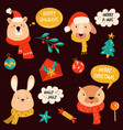 set cute christmas animals rabbit otter bear vector image