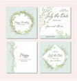 set of card with beautiful twigs with leaves vector image vector image