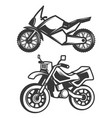 set of motorcycle icons isolated on white vector image vector image