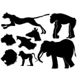 set of silhouettes of African animals vector image vector image