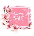 spring sale background with pink blooming magnolia vector image vector image