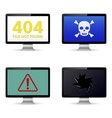 Technical failure message on computer screens vector image vector image