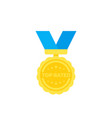 top rated badge medal vector image