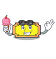 with ice cream ticket character cartoon style vector image
