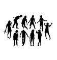 zombie silhouettes vector image