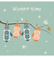 Card design with Christmas mittens vector image
