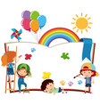 happy children writing on blank book vector image