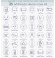 multimedia devices outline icon set vector image