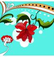 colorful background with red flowers vector image