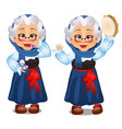 animated old lady lipstick dances with a vector image
