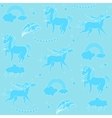 Aquamarine unicorns with clouds rainbow and stars vector image vector image