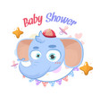baby shower elephant greetings vector image
