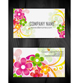 beautiful floral style business card design vector image vector image