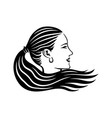 beautiful woman with long hair vector image
