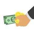 bundle money in hand vector image vector image