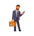 caucasian businessman with suitcase vector image