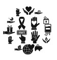 charity icons set flat style vector image vector image