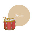 colored drum in hand-drawn style vector image vector image