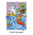cute boy and unicorn surf on waves vector image