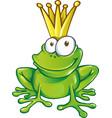 cute frog prince cartoon character mascot vector image