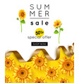 design summer sale banner with sunflower vector image vector image