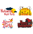 Halloween Texts Design Element Set vector image