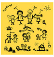 hand drawing cartoon character happy family vector image