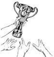 hands stretching to hand holding a sport cup vector image