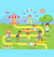 happy children spend spare time at playground vector image