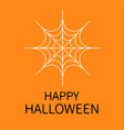 happy halloween card spider round web white vector image vector image