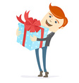 Happy man holding gift box with bow vector image
