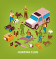 hunting club isometric poster vector image vector image