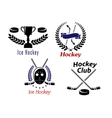 Ice hockey symbols and emblems vector image vector image