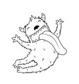 jumping fluffy horn monster for kids coloring book vector image