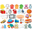 large set household items and toys on white vector image