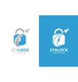 lock and rocket logo combination unique vector image vector image