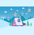 mountain ski resort in wintersnow and fun vector image vector image